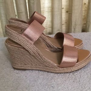 Yellow Box Wedge Rose Gold Sandals Sz 6